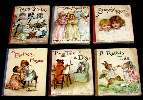 1900's Scarce Victorian Set of Six Ernest Nister Miniature Books For Children: The Cat's Concert; The Tale of a Dog; Three Little Maids From School; Snapdragon; A Birthday Present; A Rabbit's Tale.