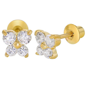 In Season Jewellery, Gold Plated Crystal Butterfly Earrings