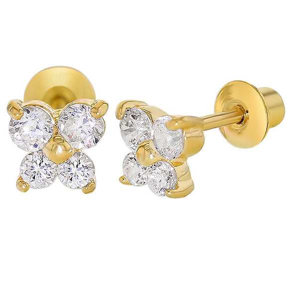 In Season Jewellery, Gold Plated Crystal Butterfly Earrings - mumspring