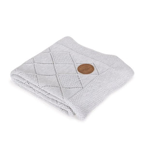 KNITTED BLANKET IN GIFT BOX (90X90) RICE STITCH LIGHT GREY