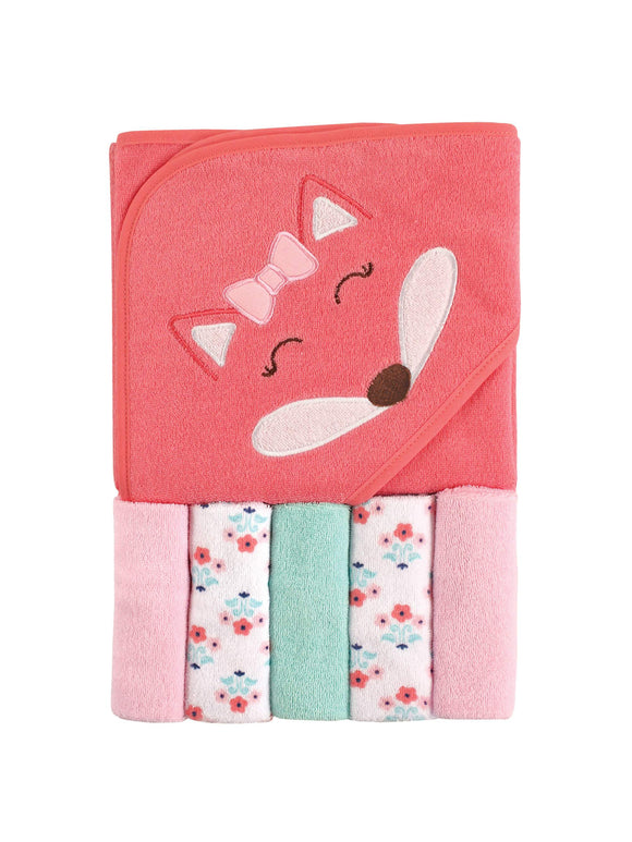 Hooded Towel with 5 washcloths - mumspring