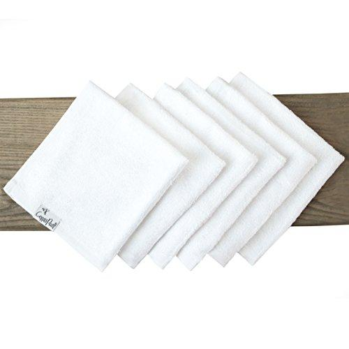 6 Baby Bath Washcloths Premium Large Soft White 11 x 11 inch All Natural Towels by Copper Pearl