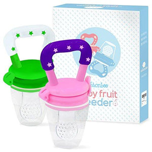 Baby Fruit Feeder Pacifier (2 Pack) - Fresh Food Feeder, Infant Fruit Teething Toy, Silicone Pouches for Toddlers & Kids by Ashtonbee - mumspring