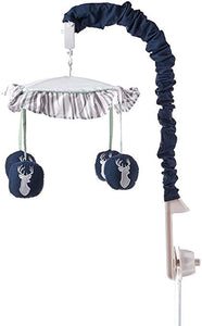 Musical Baby Crib Mobile for Navy, Mint and Grey Woodsy Deer Boys Collection