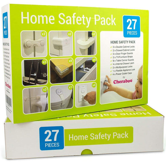 Cheraboo Toddler Home Safety Kit - Best Child Protection Pack For Kitchen Cupboard Locks, Corner Guards & Anti Tip TV/Furniture Straps - Large 27 Piece Baby Proofing Set