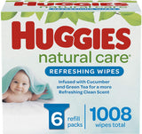 Huggies Natural Care Refreshing, SCENTED, Hypoallergenic, 6 Refill Packs, 1008 Count