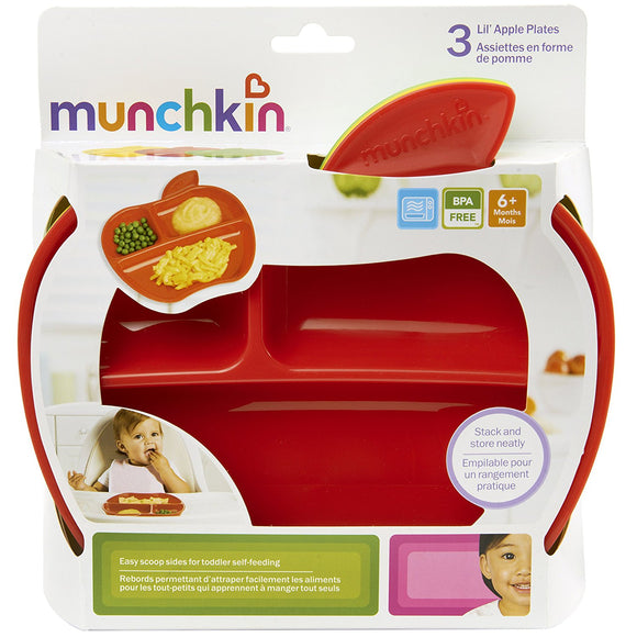 Munchkin, Lil Apple Plates (Pack of 3)
