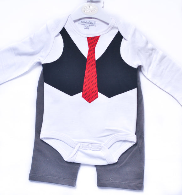 Waistcoat and Tie design Bodysuit and Pants - mumspring