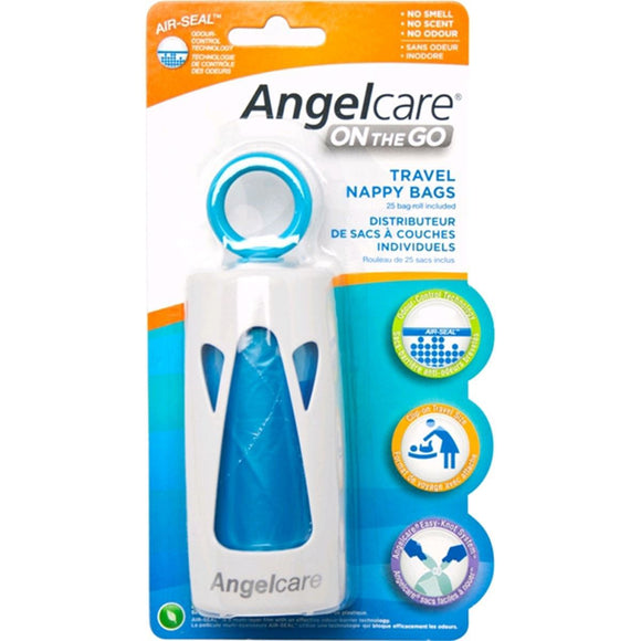 Angelcare, On-The-Go Travel Nappy Bag Starter Set (Dispenser & 1 Refill)