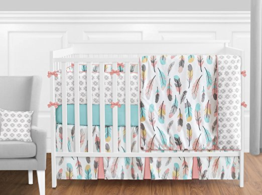 4-piece turquoise and coral crib bedding