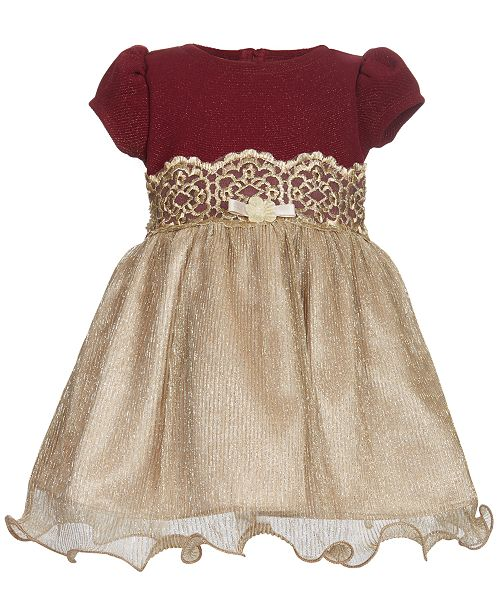 Bonnie Baby Knit Bodice Metallic Dress - mumspring