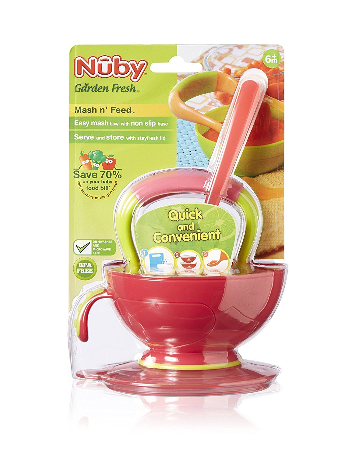Baby Nuby Garden Fresh Mash And Feed Easy Mash Bowl