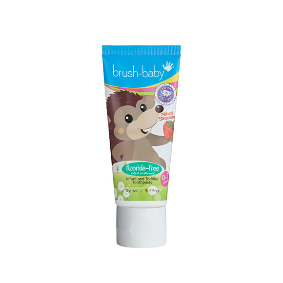Brush-Baby Fluoride-Free Strawberry Infant and Toddler Toothpaste (0-2 Years) With Xylitol