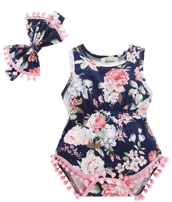 Sleeveless Floral Pom-Pom Romper with Bow - mumspring