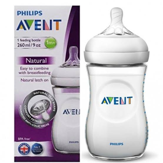 Philips AVENT Natural Slow Flow Baby Milk Feeding Bottle Anti-Colic 260ml/9oz 1m+