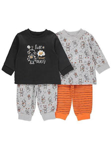 George Orange Robot Print Long Sleeve Pyjamas 2 in 1 pack