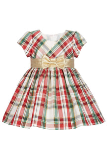 Bonnie Baby Metallic Plaid Dress-Red - mumspring