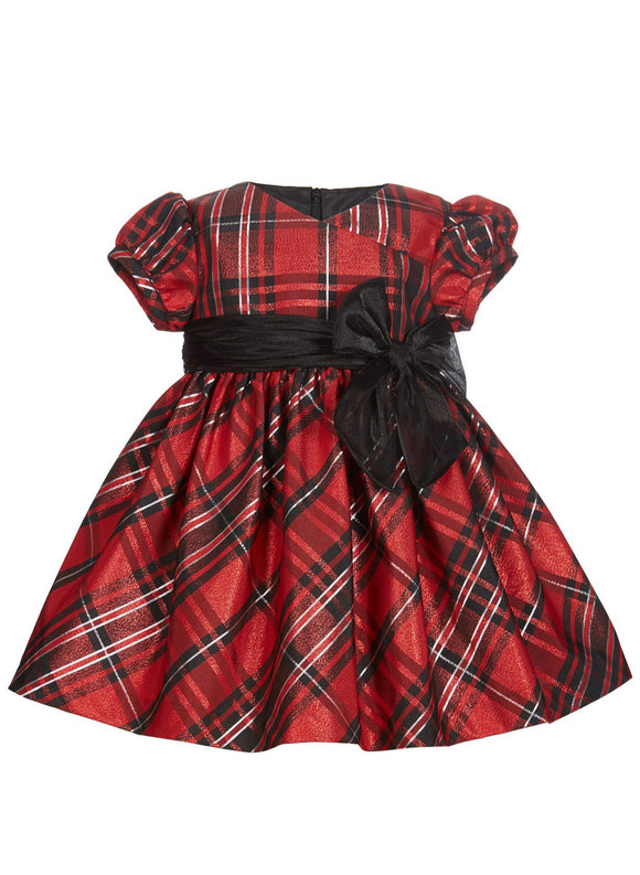 Bonnie Baby Metallic Plaid Dress-Black - mumspring