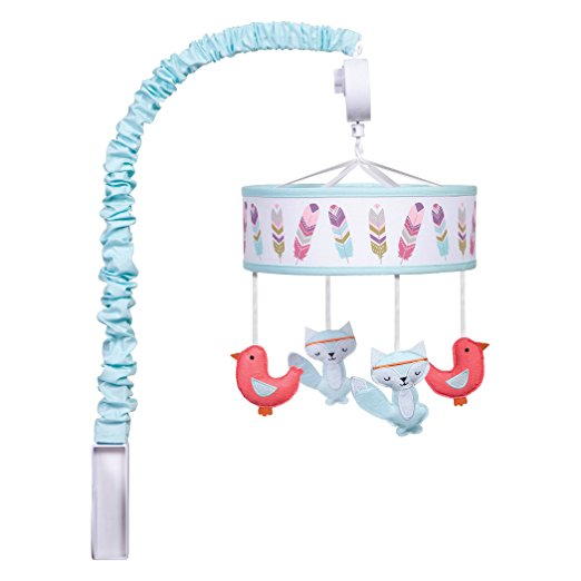 Musical Crib Mobile - Teal and Coral