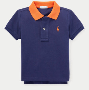 Blue Cotton Mesh Polo Shirt - mumspring