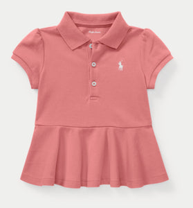 Pink Cotton Mesh Peplum Polo - mumspring