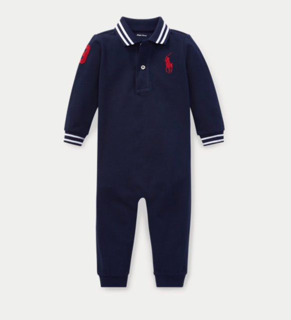 Polo French Navy Blue Romper - mumspring