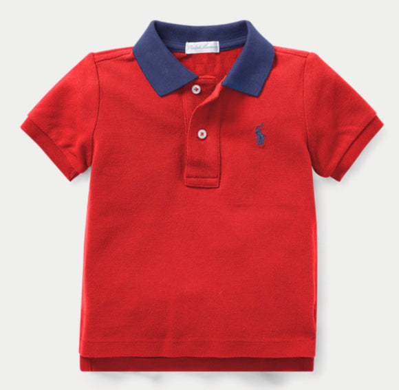 Red Cotton Mesh Polo Shirt - mumspring