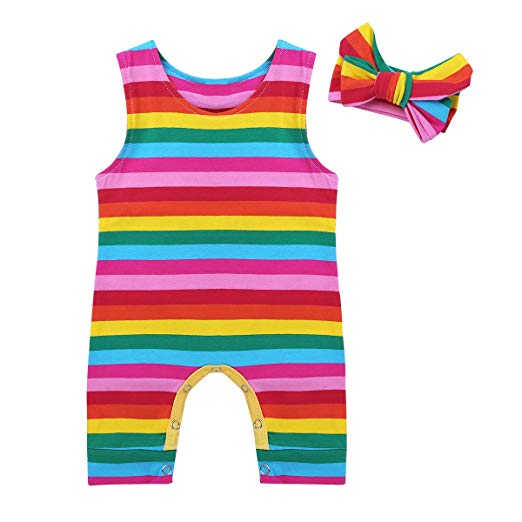 Rainbow Striped Romper with bow headband - mumspring