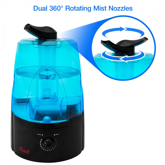 Rosewill Ultrasonic Cool Mist Humidifier with Adjustable Dual Nozzles, Black