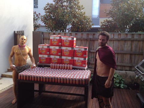 Friends with 300 cans of Emu Export