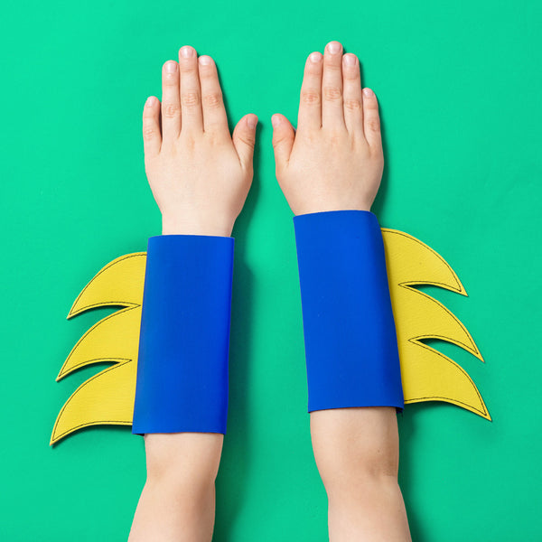 superhero cuffs blue + yellow