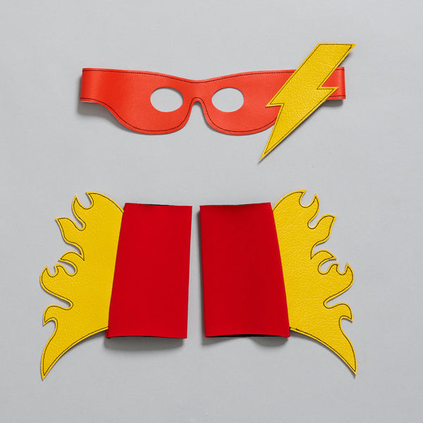 Thunder & lightening SUPERHERO mask + cuff set