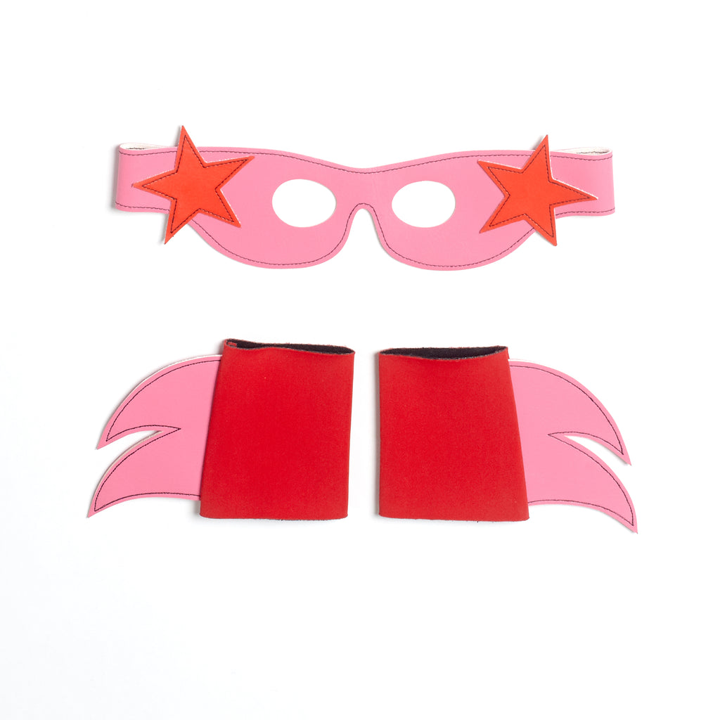 SuperSTAR  Mask & Cuff Set ++ pink/RED/turquoise