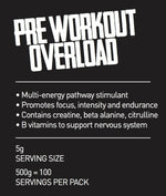 OVERLOAD extra strong pre workout drink 500g pouch/100 servings