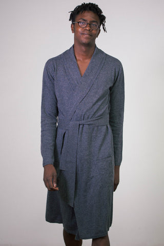 Charcoal Dark Grey Gray 100% Cashmere Mens Mid Length Bathrobe Robe Luxury Sleepwear