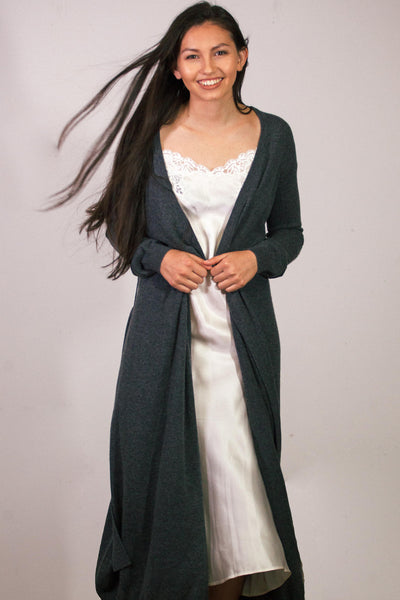 9261a5a1e0 Dark Grey Cashmere Bathrobe – The Good Wife   Co