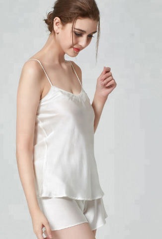 Camisole and Tap Pant Set 100% Silk - Ivory White