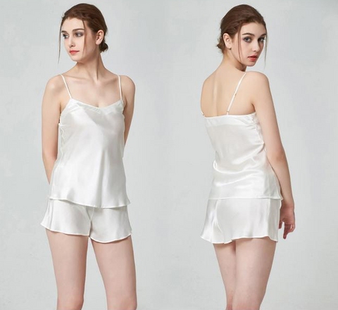 100% Silk Camisole Luxury Sleepwear White Camisole Tap Pant Set