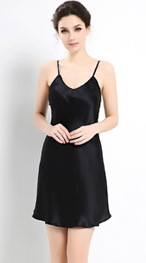 100% Silk Slip Black Luxury Sleepwear