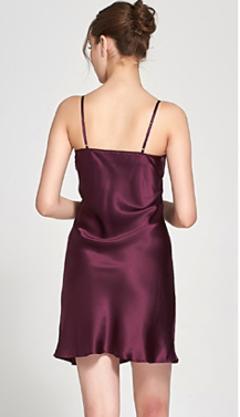 100% Silk Slip Burgundy Luxury Sleepwear