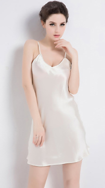 100% Silk Slip White Luxury Sleepwear