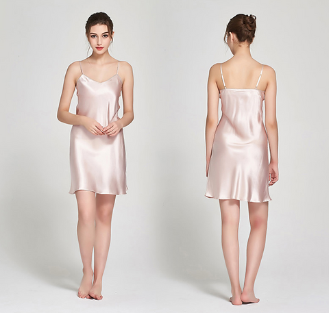 100% Silk Slip Blush Pink Luxury Sleepwear