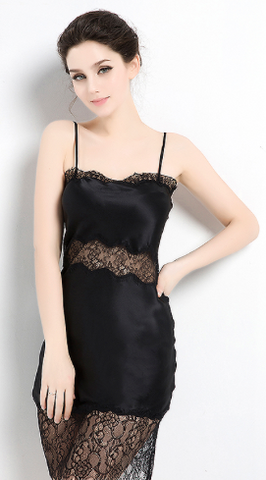 Vintage 1920's Silk & Lace Black Chemise Negligee PETITE SLIM 100% Silk Slip Black Luxury Sleepwear