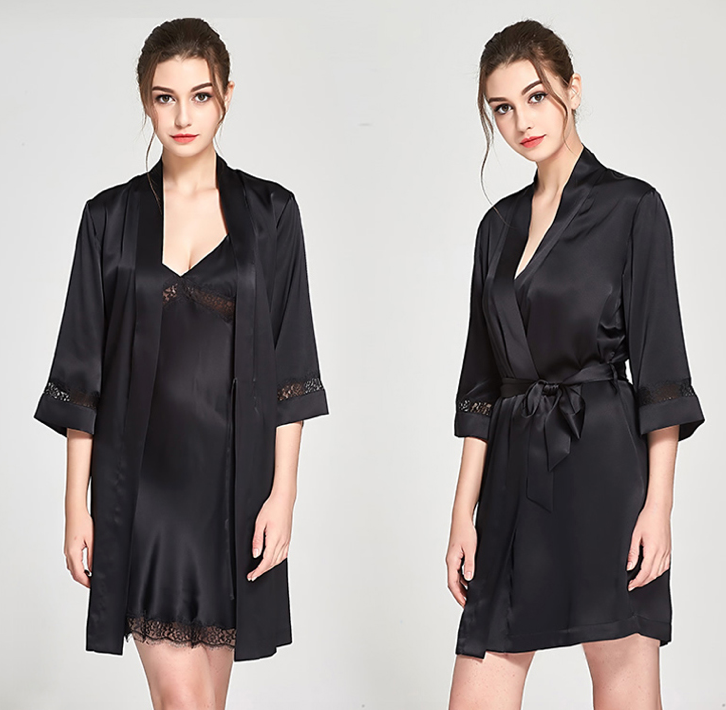 e8b696e229 Black Silk Kimono Bathrobe Mid Length – The Good Wife   Co