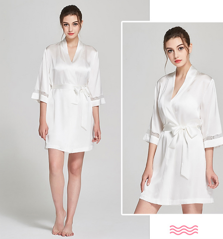 100% Silk Kimono Bathrobe White Mid Length Luxury Sleepwear