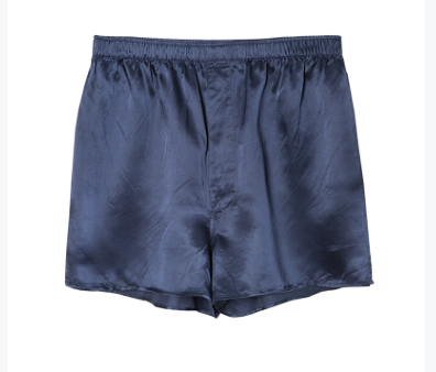 100% Silk Mens Boxer Shorts Sleep Shorts Medium Navy Blue