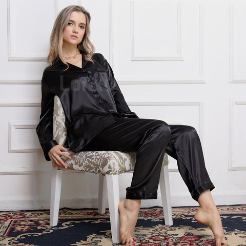 100% Silk Black Pyjama set