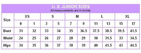 Junior's Size Chart