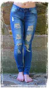 Distressed Of Style Denim Jeans - Charlene's Style  - 1