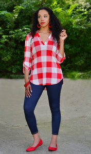 Women's 3/4 Sleeve Plaid Tunic Top-Red/White